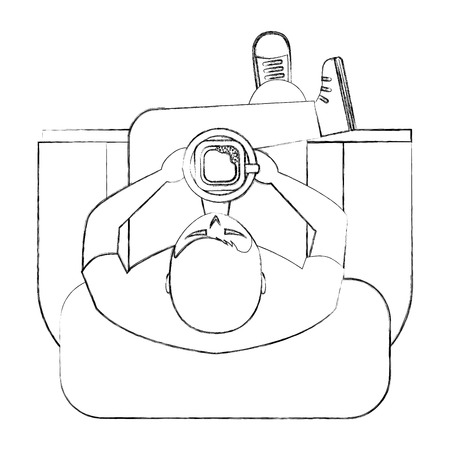 man is sitting drinking coffee on sofa view from above vector illustration sktech Illustration
