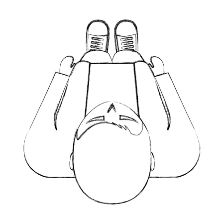 top view standing young man in casual clothes vector illustration sktech