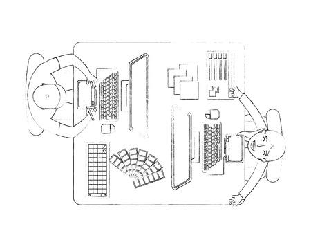 people designer creative workplace workflow items vector illustration sktech Foto de archivo - 101384910