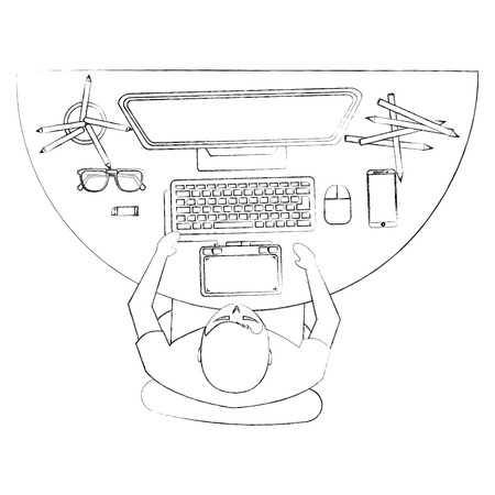 top view young man designer working computer tools at desk vector illustration sktech