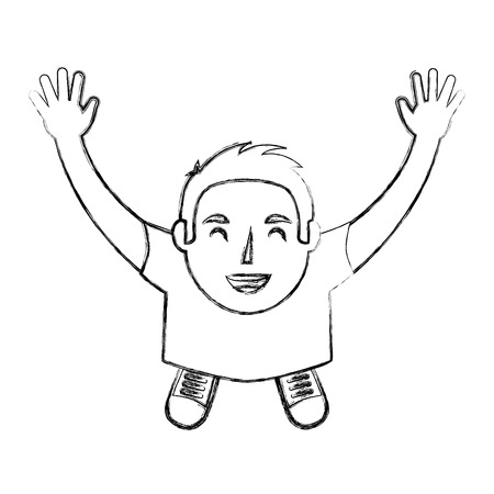 young man standing raised arms celebrating top view vector illustration sktech Çizim