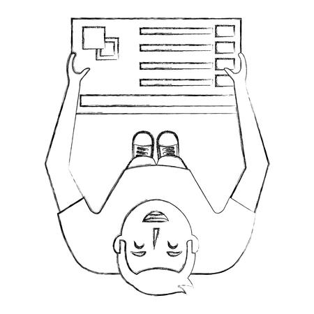 young man designer holding menu palette color top view vector illustration sktech Illustration