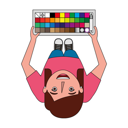 top view designer woman standing holding palette color vector illustration Иллюстрация