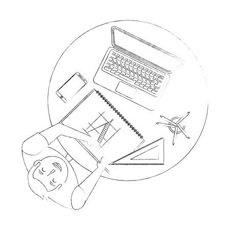 designer working at desk book laptop smartphone and ruler vector illustration sktech