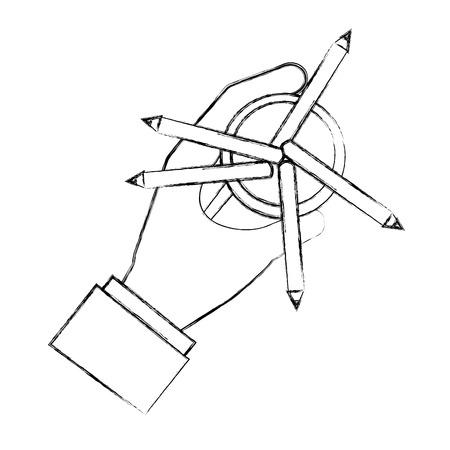 hand holding pencil color in case vector illustration sktech