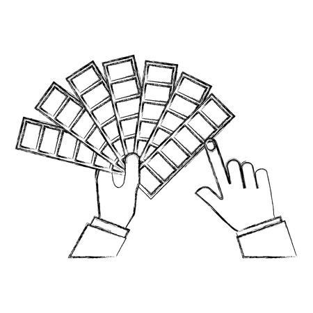 hands holding color palette design vector illustration sktech