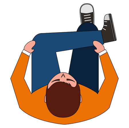 man sitting crossed legs top view vector illustration