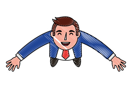 aerial view of elegant businessman avatar character vector illustration design