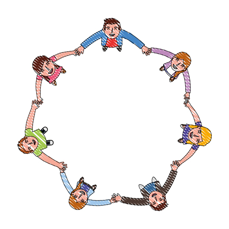 teamwork group around characters vector illustration design