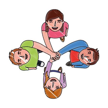 teamwork group around characters vector illustration design