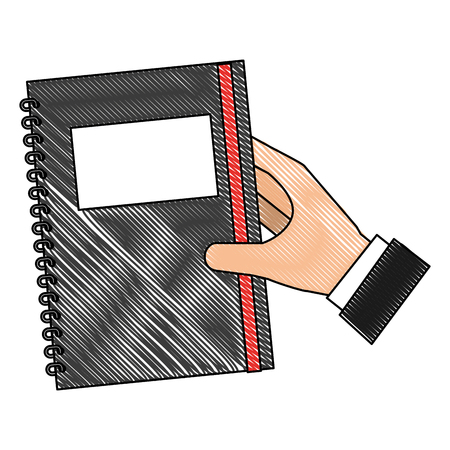 hand with study notebook closed isolated icon vector illustration design Stock Vector - 101400962