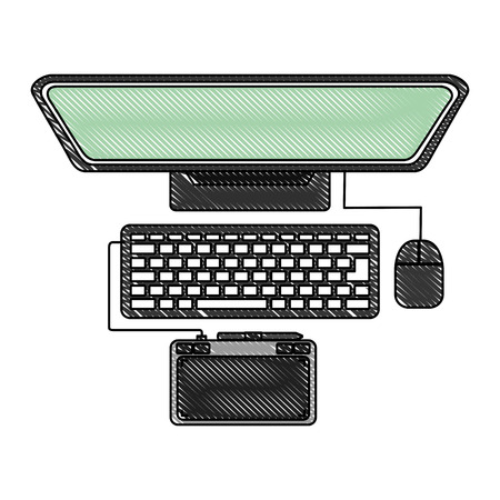 desktop computer with tablet pad device electronic vector illustration design Çizim