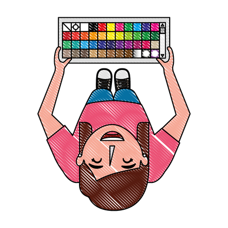 aerial view of person with palette graphic designer vector illustration design Ilustração