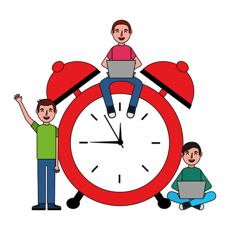people working on alarm clock vector illustration design