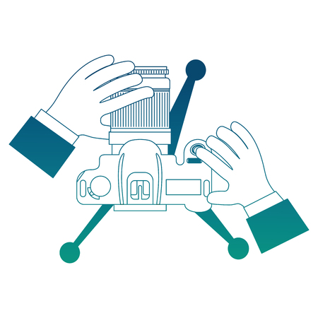 hands holding camera in tripod top view vector illustration neon blue