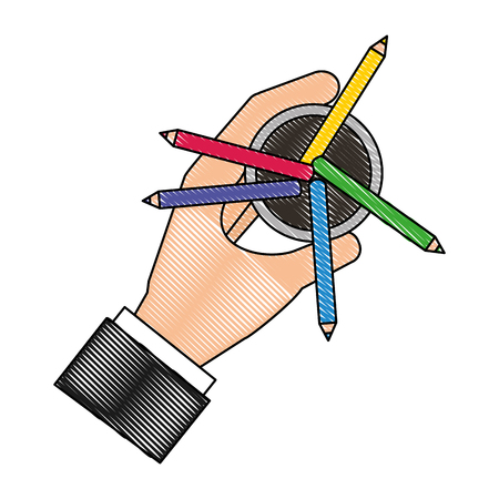 aerial view of colored pencils holders with hand vector illustration design Illustration