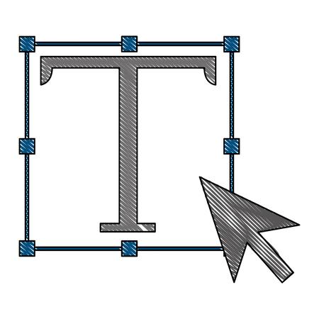 text symbol with cursor arrow vector illustration design