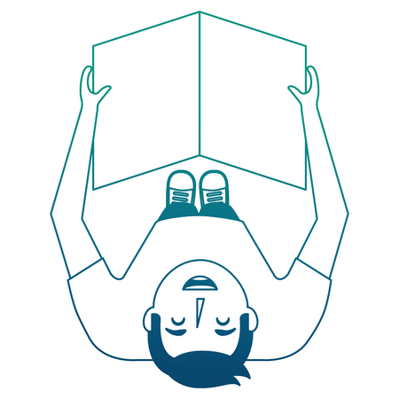 man reading newspaper in hands top view vector illustration neon blue
