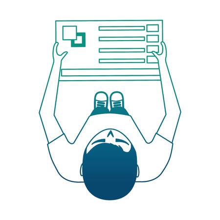 young man designer holding menu palette color top view vector illustration neon blue