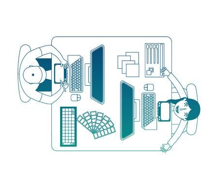 people designer creative workplace workflow items vector illustration neon blue Foto de archivo - 101401047
