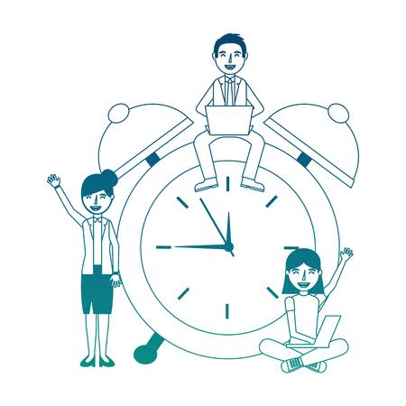 teacher man woman and student girl laptop alarm clock neon blue Illustration