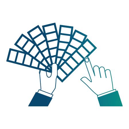 hands holding color palette design vector illustration neon blue