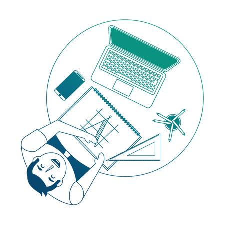 designer working at desk book laptop smartphone and ruler vector illustration neon blue