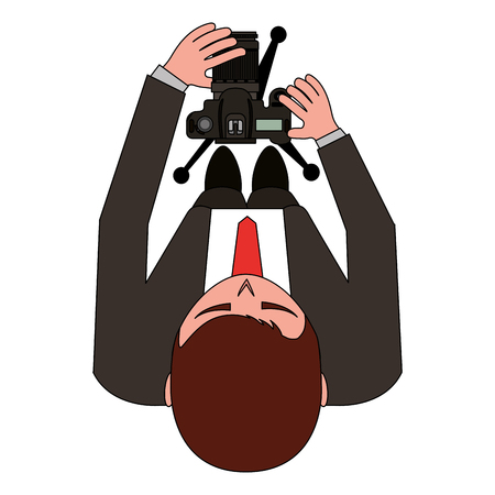 aerial view of young man with photograpic camera and tripod vector illustration design Stock Illustratie