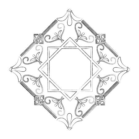 art deco frame borders retro geometric floral style