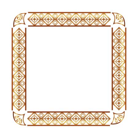 square victorian golden frame vector illustration design