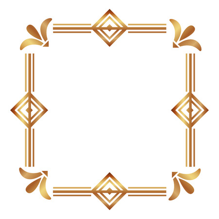square victorian golden frame vector illustration design
