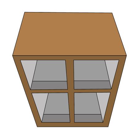 wooden furniture cabinet organizer office top view vector illustration Stock Illustratie