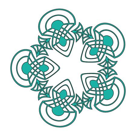 elegant antiquarian circle frame in art deco style filigree ornament vector illustration green