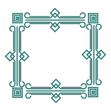 art deco frame elegant decorative square style vector illustration green