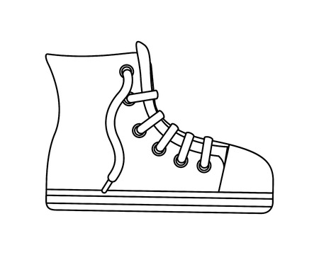 sport boot hipster footwear casual cartoon vector illustration Иллюстрация