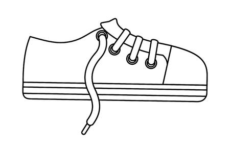 sport shoe sneaker laces cartoon vector illustration Stock Illustratie