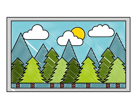 picture art landscape forest trees mountains sun vector illustration vector illustration