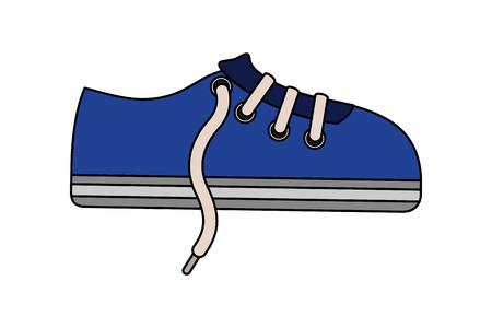 sport shoe sneaker laces cartoon vector illustration