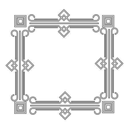 art deco frame elegant decorative square style vector illustration Ilustração