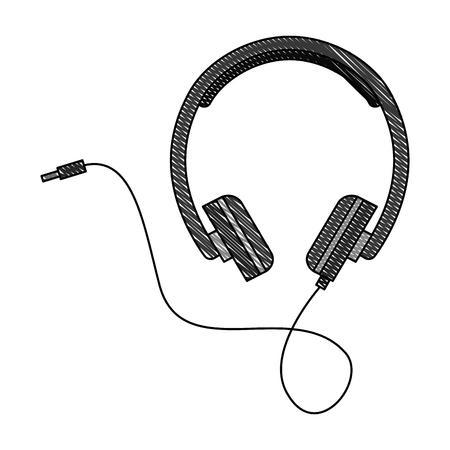 headphones cable plug music volume vector illustration vector illustration
