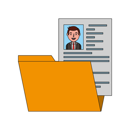folder resume curriculum male worker vector illustration