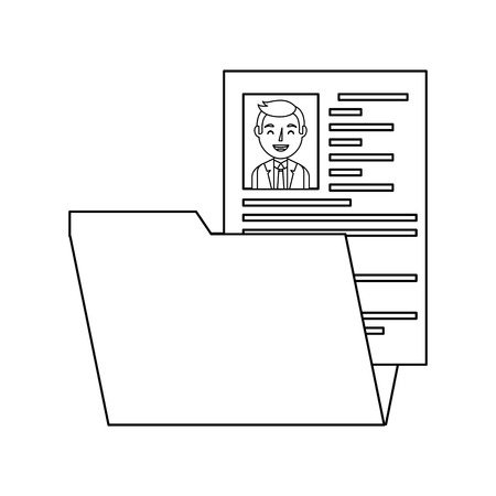 folder resume curriculum male worker vector illustration
