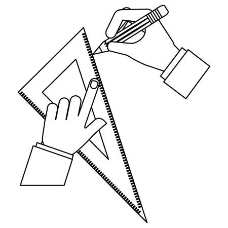 architect or designer hands with pencil and ruler triangle vector illustration Stock Illustratie