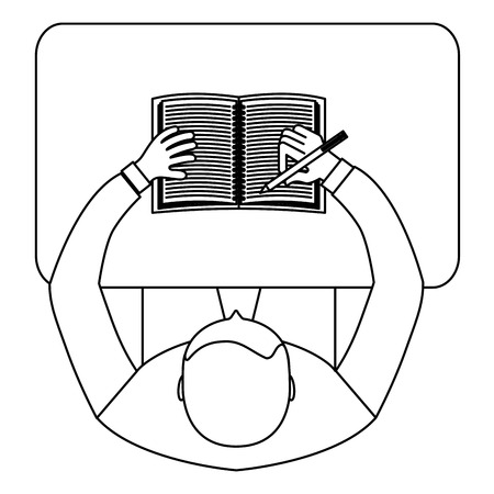 aerial view of man sitting writing in book vector illustration design