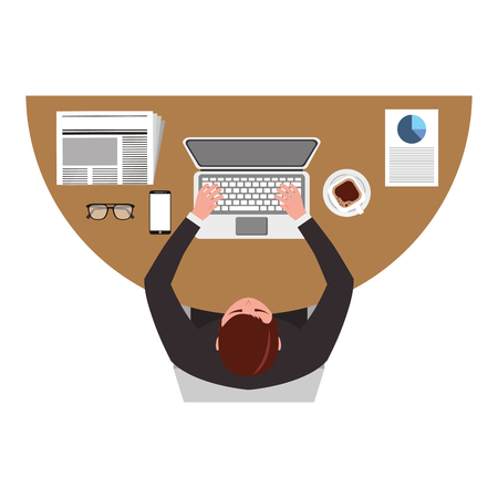 top view businessman typing in laptop with mobile papers and coffee cup vector illustration Illustration