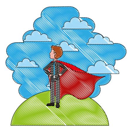hero man using cape standing in landscape clouds sky vector illustration vector illustration