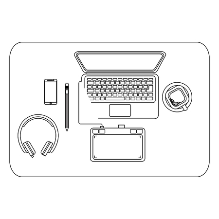 aerial view workplace scene vector illustration design Ilustração