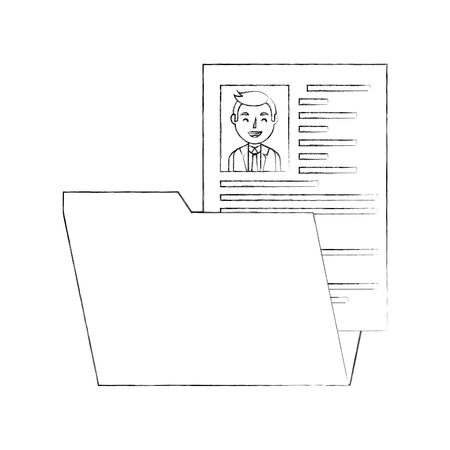 folder with curriculum vitae and photo of man isolated icon vector illustration design