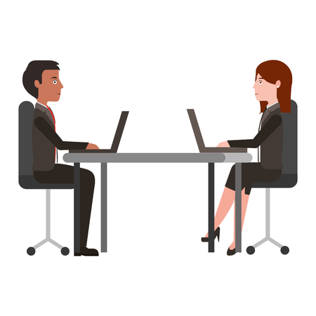 business man and woman in the office working at the desk vector illustration