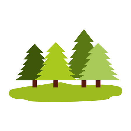 forest pine trees nature ecology vector illustration
